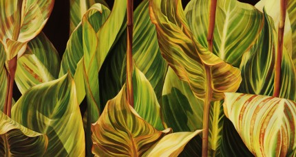 """Symphony in Greens"" 2006, Oil on canvas, 38 x 70 inches, Signed lower right"
