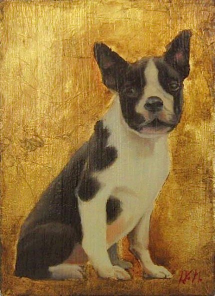 """""""Boston Terrier"""" Oil & Gold leaf on wood block, 7.5 x 5.5 inches, Signed"""
