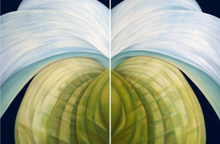 """Untitled No. 15-14"" Diptych, Oil on canvas, 40 x 60 inches, Signed"