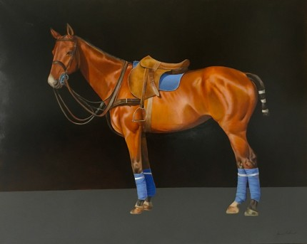 """""""Polo Pony"""" Oil on canvas, 48 x 60 inches, Signed lower right"""