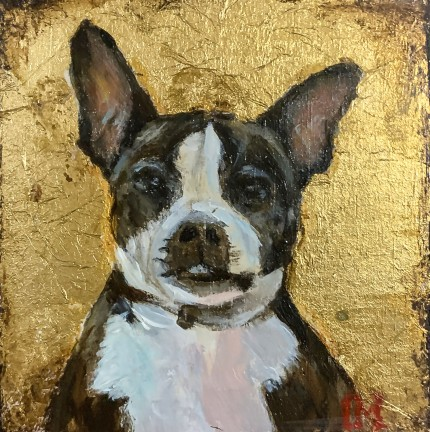 """""""Sir Winston with Gold Leaf"""" Oil on canvas"""