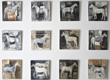 """""""Domesticated"""" Mixed media on canvas, Each: 12 x 12 inches, Overall: 48 x 68 inches, Distance between each painting is 6 inches."""