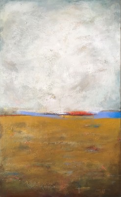 """""""Yellow Field"""" Mixed media on canvas, 48 x 30 inches, Gallery wrap canvas, Sides painted, Signed lower right 