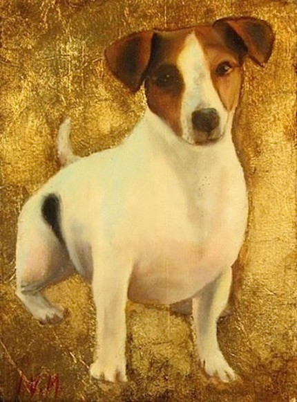 """""""Jack Russell"""" Oil & Gold leaf on wood block, 7.5 x 5.5 inches, Signed"""