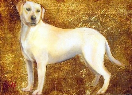 """""""Labrador"""" Oil & Gold leaf on wood block, 5.5 x 7.5 inches, Signed"""