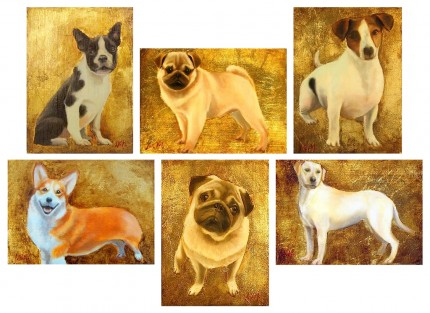 """""""Canine Paintings"""" Each: Oil & Gold leaf on wood block, 7.5 x 5.5 inches, Signed"""