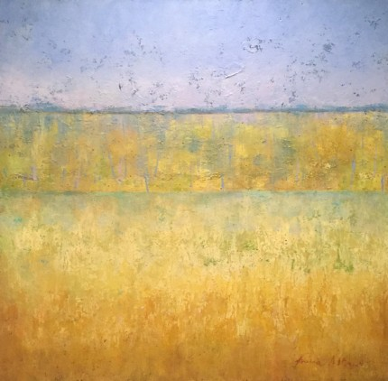 """""""Open Fields"""" Oil on canvas, 38 x 38 inches, Signed"""