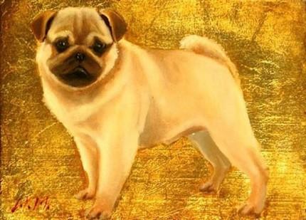 """Pug I"" Oil & Gold leaf on wood block, 5.5 x 7.5 inches, Signed"