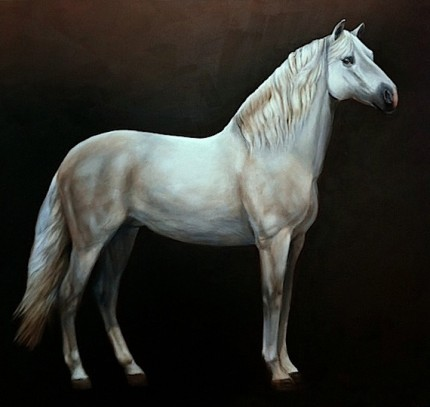 """""""White Beauty"""" Oil on canvas, 48 x 60 inches, Signed"""