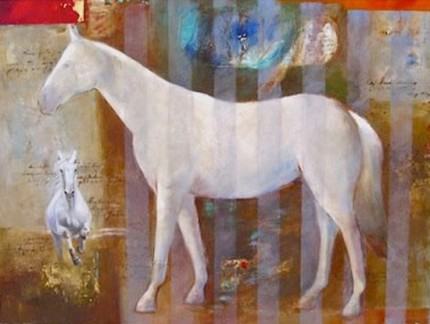 """""""White Horse"""" Oil on canvas, 30 x 40 inches, Signed"""