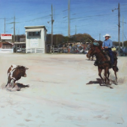 """Cowboy cowboy"" Oil on canvas, 30 x 30 inches, Signed"