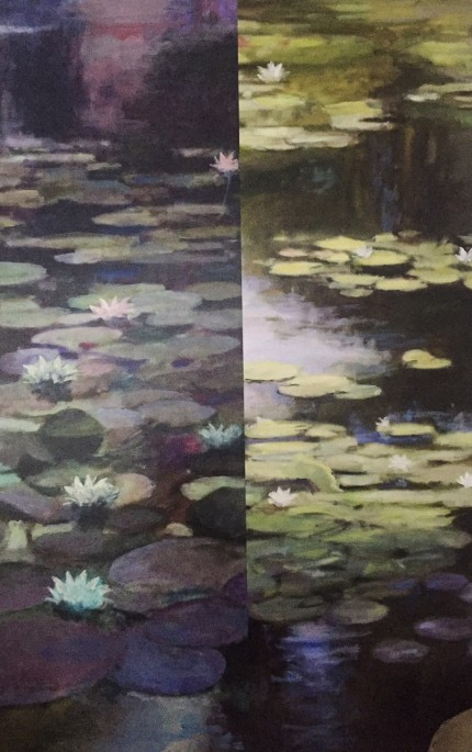 """Water Lilies II"" Oil and mixed media on canvas, 60 x 40 inches, Signed lower left"