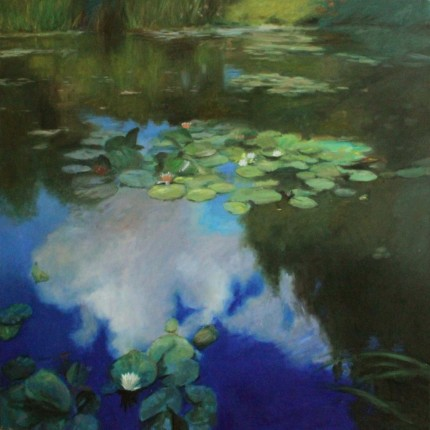 """Lilies and Sky"" Oil on canvas, 70 x 70 inches, Signed"