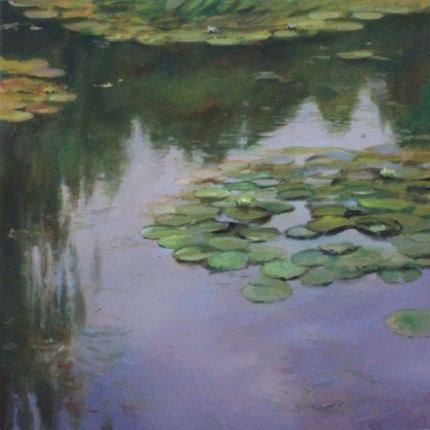 """Lilies #2"" Oil on canvas, 54 x 54 inches, Signed"