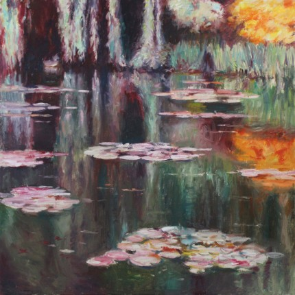 """Lilies: Reflections #8"" Oil on canvas, 54 x 54 inches, Signed"