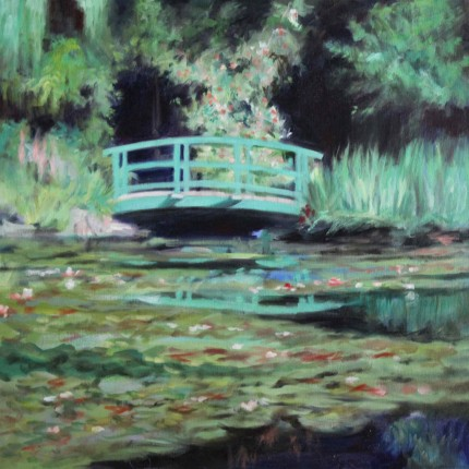 """Lilies: Reflections #9"" Oil on canvas, 24 x 24 inches, Signed"