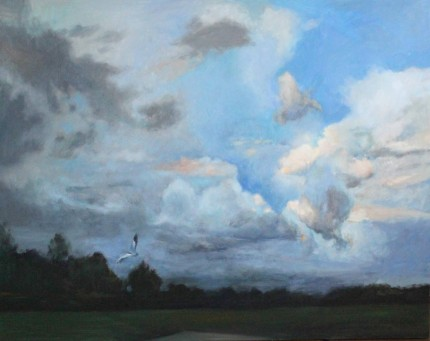 """Sky #12"" Oil on canvas, 48 x 60 inches, Signed"