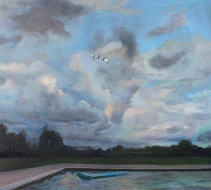 """Sky #3"" Oil on canvas, 54 x 60 inches, Signed"