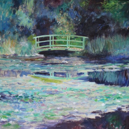 """The Japanese Bridge"" Oil on canvas, 54 x 54 inches, Signed"