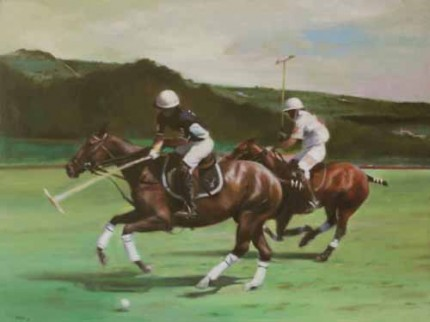 """The Polo Players"" Oil on canvas, 30 x 40 inches, Signed"