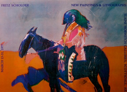 """""""Fritz Scholder: New Paintings & Lithographs"""" The Elaine Horwitch Galleries, Scottsdale, Arizona, March 13-31, 1977, Limited Edition Poster, 24 x 28 inches"""