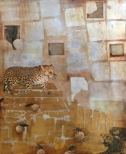 """""""A Silent Break"""" Mixed media collage, Gold, Silver & Bronze leaf on canvas, 48 x 36 x 2 inches, Signed"""