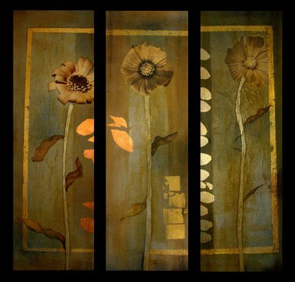 """""""Flower Tryptich"""" 2005, Oil and mixed media on canvas, each 36 x 12 inches"""