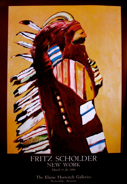"""""""Fritz Scholder: Indian with Horn"""" New Work, March 9-29, 1980, The Elaine Horwitch Galleries, Scottsdale, Arizona, Limited Edition Poster, 36 x 24 inches"""