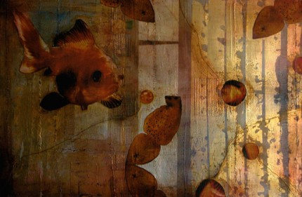 """""""Golden Reflections"""" 2005, Oil and mixed media on canvas, 24 x 36 inches"""