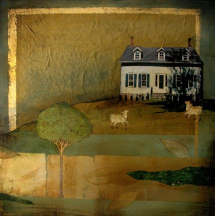 """""""Humble Abode"""" 2005, Oil and mixed media on canvas, 24 x 24 inches"""