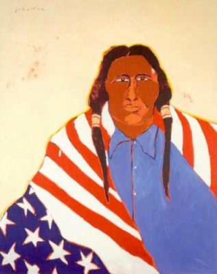 """""""1976 Indian"""" Limited Edition Poster, 36 x 24 inches. This piece was created in commemoration of the US bicentennial, it is a companion to """"1776 Indian"""""""