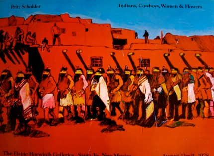 """""""Fritz Scholder: Indians, Cowboys, Women & Flowers"""" The Elaine Horwitch Galleries, Santa Fe, New Mexico, August 13-31, 1978, Limited Edition Poster, 24 x 32 inches"""