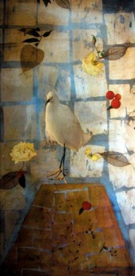 """""""Roses For Tomorrow"""" 2005, Oil and mixed media collage on canvas, 48 x 24 inches"""