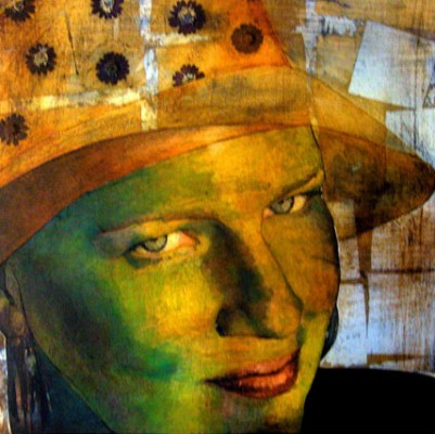 """""""Self Portrait"""" 2005, Oil and mixed media collage on canvas, 16 x 16 inches"""