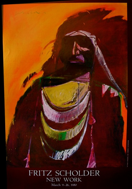 """""""Fritz Scholder: Sunset Indian"""" New Work, March 9-28, 1980, The Elaine Horwitch Galleries, Scottsdale, Arizona, Limited Edition Poster, 36 x 24 inches"""