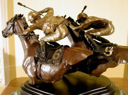 """""""Competitive Edge"""" Bronze, Limited Edition #24, 12 x 8.5 x 9.5 inches, Signed & Inscribed. The 1987 Breeder's Cup, between Ferdinand and Alycheba."""
