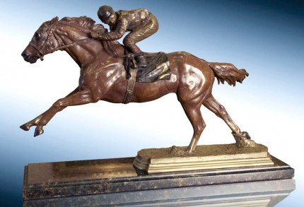 """""""Secretariat"""" Bronze, 10.5 x 4.5 x 18 inches, Signed, Dated & Inscribed"""