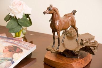 """Wind and the Arabian Stallon II"" Bronze on revolving walnut base, Edition: 21/24, 11.25 x 10.5 x 8 inches, Signed: E. Guarisco, Provenance: The Artist"