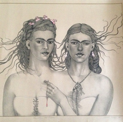 """""""Las Otras Dos Friedas"""" (The Other Two Fridas) Limited edition lithograph, Edition: 22/50, Illuminated by hand, 22.5 x 27.5 inches, Inscribed, Signed & Dated 1985, Rare & Scarce, Sold out edition"""