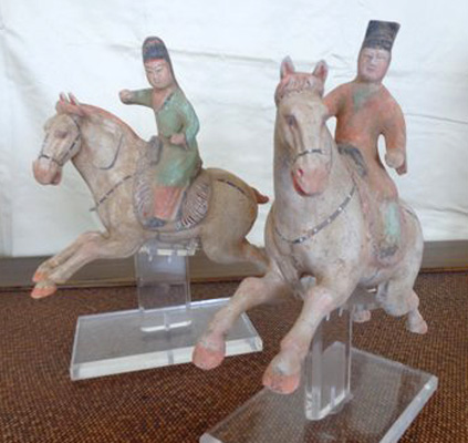 """This set of six polo players is from the Tang Dynasty, c. 618-907 AD. The players each measure about 7"""" high, and the horses are about 9"""" long. They were purchased at the Antique Center in Bath, England in 1984. There is polychrome remaining on all of them and they are in excellent condition."""