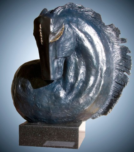 """""""Stallion II"""" Bronze with blue/black patina, 20 x 20 x 12 Inches, Inscribed & Signed"""