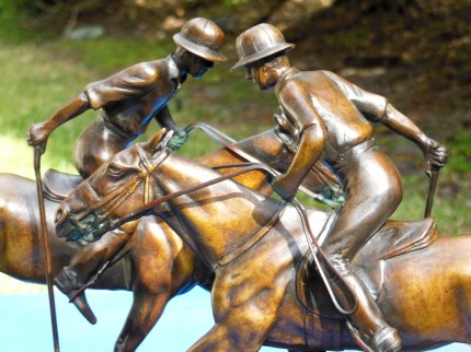 """""""Two Polo Players"""" Bronze, 7 ¾ x 21 ½ x 11, Signed"""