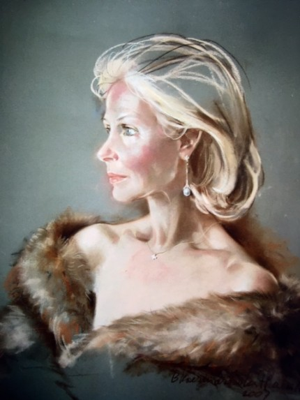 """Countess Nicole d'Ansemburg"" Pastel on board, 25 x 23 inches, Signed"