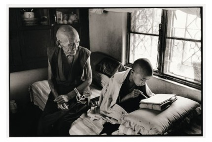 """""""Gen Pagdo teaching Lama Chunchun to read"""" Gelatin silver print, Edition of 25, Paper size: 50 x 60 cms, Also available in 40 x 50 cms & 76 x 100 cms"""