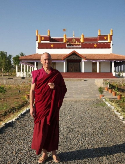 Khen Rinpoche Nicholas Vreeland in front of the temple at Rato Dratsang, January 2015