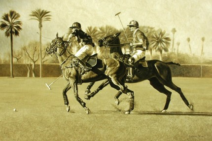 """""""Polo Times"""" Oil on canvas, 24 x 36 inches, Signed 
