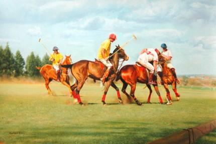 """Umzari Polo I"" Oil on canvas, 19 x 28 inches, Signed"