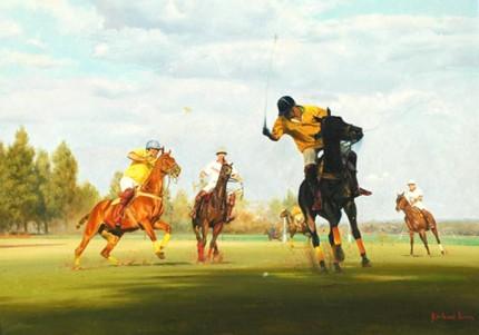 """Umzari Polo II"" Oil on canvas, 22 x 30 inches, Signed"