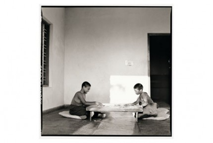 """""""Two monks playing carrom on a Monday"""" Gelatin silver print, Edition of 25, Paper size: 50 x 60 cms, Also available in 40 x 50 cms & 76 x 100 cms"""