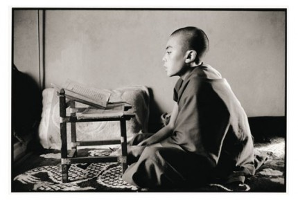 """""""Young Rato monk memorizing"""" Gelatin silver print, Edition of 25, Paper size: 50 x 60 cms, Also available in 40 x 50 cms & 76 x 100 cms"""